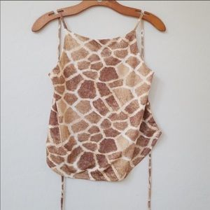 Vintage giraffe tie back top